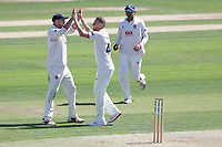 Jamie Porter of Essex celebrates taking the wicket of Ben Slater during Essex CCC vs Nottinghamshire CCC, Specsavers County Championship Division 1 Cricket at The Cloudfm County Ground on 14th May 2019
