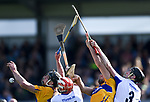 John Conlon and Aron Shanagher of Clare  in action against Stephen Daniels  and Barry Coughlan of Waterford  during their National League game at Cusack Park. Photograph by John Kelly.
