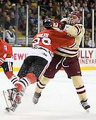 Luke Eibler (Northeastern - 20), Bill Arnold (BC - 24) - The Boston College Eagles defeated the Northeastern University Huskies 7-1 in the opening round of the 2012 Beanpot on Monday, February 6, 2012, at TD Garden in Boston, Massachusetts.