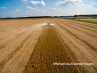 63801-09314 Soybean Harvest, John Deere combine harvesting soybeans - aerial - Marion Co. IL