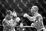 George Sullivan, right, has Jesus Martinez backing up as the champion delivers punishing blows during their welterweight MMA fight at the Borgata in August. The fight would be stopped minutes after this right hand blow was landed by Sullivan.
