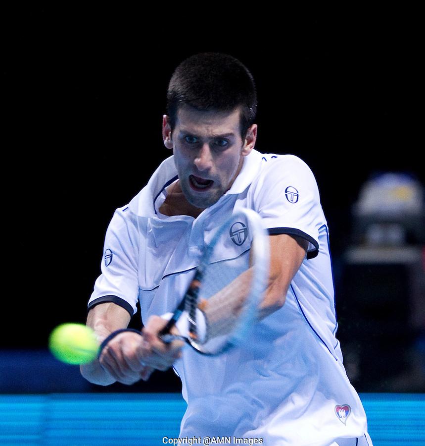 NOVAK DJOKOVIC  (SRB) (1) against  TOMAS BERDYCH (CZE) (7) in the Round Robin Stage of the Barclays ATP World Tour Finals. ..ATP World Tour Finals Day 2, 21.11.2011, 21st November, 2011. 02, London. UK..@AMN IMAGES, Frey, Advantage Media Network, Level 1, Barry House, 20-22 Worple Road, London, SW19 4DH.Tel - +44 208 947 0100.email - mfrey@advantagemedianet.com.www.amnimages.photoshelter.com.