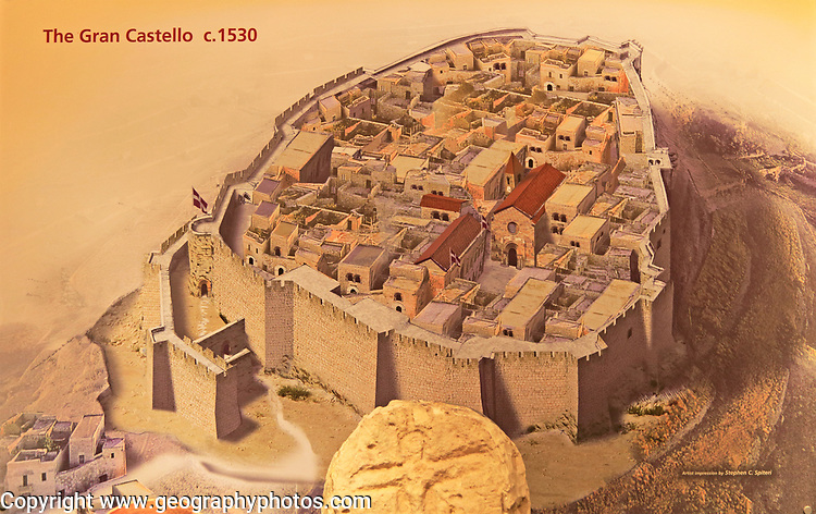 Picture reconstruction of the Grand castle citadel of Rabat, Archaeological museum, Gozo, Malta Gran Castello in 1530