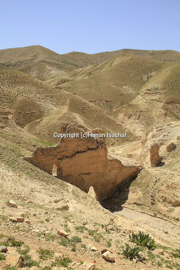 Judean desert, the Herodian aqueduct in Wadi Qelt that carried water from Ein Prat to Jericho