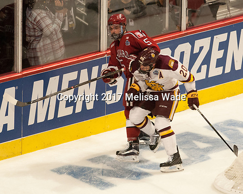 Clay Anderson (Harvard - 5), Karson Kuhlman (UMD - 20) - The University of Minnesota Duluth Bulldogs defeated the Harvard University Crimson 2-1 in their Frozen Four semi-final on April 6, 2017, at the United Center in Chicago, Illinois.