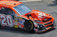 Jun 1, 2008; Dover, DE, USA; NASCAR Sprint Cup Series driver Tony Stewart after crashing during the Best Buy 400 at the Dover International Speedway. Mandatory Credit: Mark J. Rebilas-US PRESSWIRE