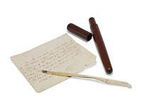 BNPS.co.uk (01202 558833)<br /> Pic: Christie's/BNPS<br /> <br /> The humble quill pen with which Admiral Lord Nelson wrote his last, unfinished letter on HMS Victory has sold for £10,000.<br /> <br /> Two days before the Battle of Trafalgar, the British naval hero sat down at his writing desk in his cabin and poured his heart out to his lover, Lady Emma Hamilton.<br /> <br /> He expressed his deep love for her and their daughter Horatia, stating how he hoped to finish the letter after the battle.<br /> <br /> But it was not to be as Nelson was shot and killed by a French sniper while masterminding one of Britain's greatest victories