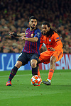 UEFA Champions League 2018/2019.<br /> Round of 16 2nd leg.<br /> FC Barcelona vs Olympique Lyonnais: 5-1.<br /> Luis Suarez vs Jason Denayer.