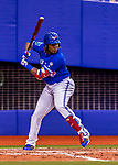 26 March 2018: Toronto Blue Jays third baseman Vladimir Guerrero Jr. at bat in the 8th inning of a pre-season exhibition game against the St. Louis Cardinals at Olympic Stadium in Montreal, Quebec, Canada. The Cardinals defeated the Blue Jays 5-3 in the first of two MLB Grapefruit League games, in which Guerrero Jr. made his first appearance since childhood at the former home on the Montreal Expos. Mandatory Credit: Ed Wolfstein Photo *** RAW (NEF) Image File Available ***