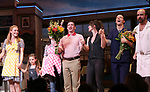 Betsy Wolfe, Victoria Collett, Caitlin Houlahan, David Josefsberg, Jason Mraz and Eric Anderson take a bow at the curtain call of Broadway's 'Waitress' at The Brooks Atkinson Theatre on November 3, 2017 in New York City.