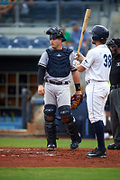 Tampa Yankees catcher Wes Wilson (69) at bat in front of Charlotte Stone Crabs catcher Brett Sullivan (8) during the first game of a doubleheader against the Charlotte Stone Crabs on July 18, 2017 at Charlotte Sports Park in Port Charlotte, Florida.  Charlotte defeated Tampa 7-0 in a game that was originally started on June 29th but called to inclement weather.  (Mike Janes/Four Seam Images)