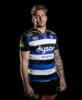 Dominic Day of Bath Rugby poses for a portrait in the 2015/16 home kit during a Bath Rugby photocall on December 1, 2015 at Farleigh House in Bath, England. Photo by: Patrick Khachfe / Onside Images
