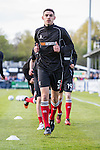 Shaun Pearson of Grimsby Town leads the warm up before the Vanamara Conference Play Off Semi Final First Leg match between Eastleigh and Grimsby Town at The Silverlake Stadium, Eastleigh<br /> Picture by David Horn/eXtreme aperture photography +44 7545 970036<br /> 30/04/2015