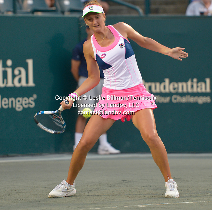 Irina-Camelia Begu (ROU) loses to Angelique Kerber (GER) 7-6, 7-6 at the Family Circle Cup in Charleston, South Carolina on April 10, 2015.