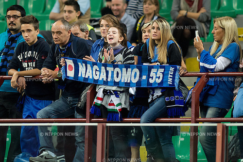 "Inter fans, SEPTEMBER 30, 2012 - Football / Soccer : Inter fans with Yuto Nagatomo's scarve before the Italian ""Serie A"" match between Inter Milan 2-1 Fiorentina at Stadio Giuseppe Meazza in Milan, Italy. (Photo by Enrico Calderoni/AFLO SPORT) [0391]"