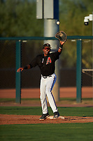 AZL D-backs first baseman Rafael Jimenez (32) catches a throw during an Arizona League game against the AZL Angels on July 20, 2019 at Salt River Fields at Talking Stick in Scottsdale, Arizona. The AZL Angels defeated the AZL D-backs 11-4. (Zachary Lucy/Four Seam Images)