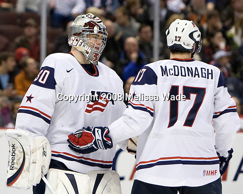 Thomas McCollum (USA - 30), Ryan McDonagh (USA - 17) - Team USA defeated Team Germany 8-2 on the evening of Friday, December 26, 2008, at Scotiabank Place in Kanata (Ottawa), Ontario during the 2009 World Juniors U20 Championship.