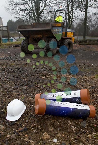KIds with time capsule from Kildrum Primary School - Ellisland Road Cumbernauld, Scotland..Picture: Maurice McDonald/Universal News And Sport (Scotland). 23 February 2012. www.unpixs.com..