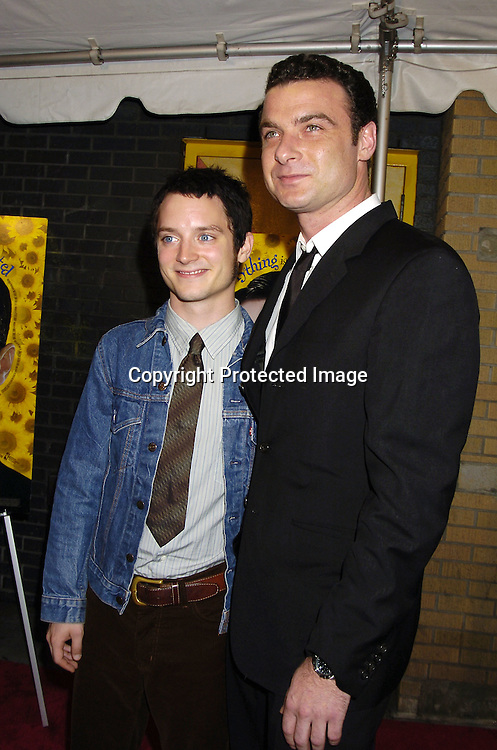 "Elijah Wood and Liev Schreiber ..at The New York City Premiere of "" Everything Is Illuminated"" on September 15, 2005 at the Landmark Sunshine Cinema. Liev Schreiber directed the movie and Elijah Wood stars in it. ..Photo by Roibn Platzer, Twin Images"
