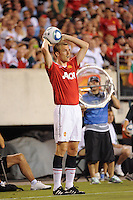 Darren Fletcher (24) of Manchester United on a throw in. Manchester United (EPL) defeated the Philadelphia Union (MLS) 1-0 during an international friendly at Lincoln Financial Field in Philadelphia, PA, on July 21, 2010.