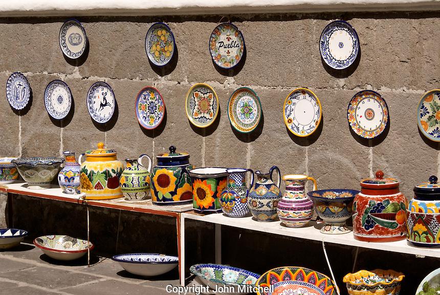 Talavera pottery for sale at El Parian handicrats market in the city of Puebla, Mexico. The historical center of Puebla is a UNESCO World Heritage Site..
