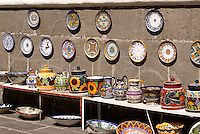 Talavera pottery for sale at El Parian handicrats market in the city of Puebla, Mexico. The historical center of Puebla is a UNESCO World Heritage Site..