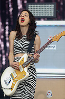 CHARLI XCX's Guitarist performs on the Main Stage during The New Look Wireless Music Festival at Finsbury Park, London, England on Sunday 05 July 2015. Photo by Andy Rowland.