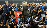 Kansas City, KS - Wednesday September 20, 2017: Sunil Gulati and Sporting Kansas City 2017 U.S. Open Cup Champions during the 2017 U.S. Open Cup Final Championship game between Sporting Kansas City and the New York Red Bulls at Children's Mercy Park.