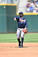 Gwinnett Braves second baseman Ozzie Albies (1) warms up between inning during a game against the Charlotte Knights at BB&T Ballpark on May 7, 2017 in Charlotte, North Carolina. The Knights defeated the Braves 7-1. (Tony Farlow/Four Seam Images)