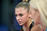 September 9, 2018 - Sofia, Bulgaria - ALEKSANDRA SOLDATOVA of Russia, rest break with coach during early trainings at 2018 World Championships.