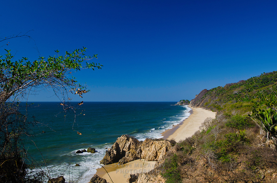 Scenic view from a high bluff of beaches to the north of Sayulita, Mexico
