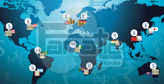 Illustration shot of currency symbols representing countries in a world map