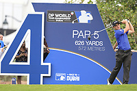 Paul Dunne (IRL) on the 14th tee during the 3rd round of the DP World Tour Championship, Jumeirah Golf Estates, Dubai, United Arab Emirates. 17/11/2018<br /> Picture: Golffile | Fran Caffrey<br /> <br /> <br /> All photo usage must carry mandatory copyright credit (© Golffile | Fran Caffrey)