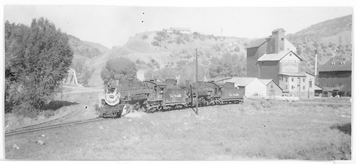 Track to RGS connection curves to left.  D&amp;RGW #493 and #481 are on turning loop near the Graden Mill.<br /> RGS  Durango, CO  Taken by Hilner, Ray C. - 8/19/1953