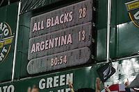Final score at Waikato Stadiumof the 2013 Rugby Championship - All Blacks v Argentina at Waikato Stadium, Hamilton, New Zealand on Saturday, 7th September   2013. Copyright Dion Mellow Photography. Credit DMP / Dion Mellow