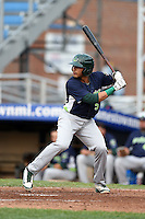 Vermont Lake Monsters third baseman Jose Brizuela (5) at bat during a game against the Jamestown Jammers on July 12, 2014 at Russell Diethrick Park in Jamestown, New York.  Jamestown defeated Vermont 3-2.  (Mike Janes/Four Seam Images)