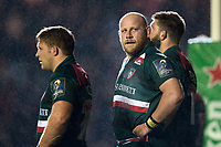 Dan Cole of Leicester Tigers looks on during a break in play. European Rugby Champions Cup match, between Leicester Tigers and Munster Rugby on December 17, 2017 at Welford Road in Leicester, England. Photo by: Patrick Khachfe / JMP