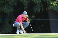 Ross Fisher (ENG) on the 15th green during Saturday's Round 3 of the 2018 Omega European Masters, held at the Golf Club Crans-Sur-Sierre, Crans Montana, Switzerland. 8th September 2018.<br /> Picture: Eoin Clarke | Golffile<br /> <br /> <br /> All photos usage must carry mandatory copyright credit (&copy; Golffile | Eoin Clarke)