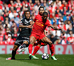 Sofiane Boufal of Southampton  in action with Georgina Wijnaldum of Liverpool during the English Premier League match at Anfield Stadium, Liverpool. Picture date: May 7th 2017. Pic credit should read: Simon Bellis/Sportimage