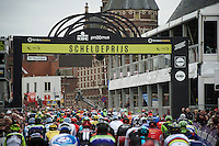 first crossing of the finish line early in the race<br /> <br /> 104th Scheldeprijs 2016