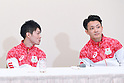 (L-R) Kohei Uchimura, Yusuke Tanaka (JPN), <br /> JULY 19, 2016 - Artistic Gymnastics : <br /> Japan Men's Artistic Gymnastics national team send-off press conference <br /> for the Rio 2016 Olympic Games in Tokyo, Japan. <br /> (Photo by AFLO SPORT)