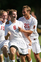 24 September 2006: Kyle Hency and Scott Bolkan and Brant Bishop celebrate during Stanford's 1-1 tie with UCLA at Maloney Field in Stanford, CA.