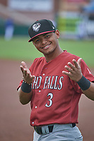 Carlos Diaz (3) of the Idaho Falls Chukars before the game against the Ogden Raptors at Lindquist Field on July 2, 2018 in Ogden, Utah. The Raptors defeated the Chukars 11-7. (Stephen Smith/Four Seam Images)