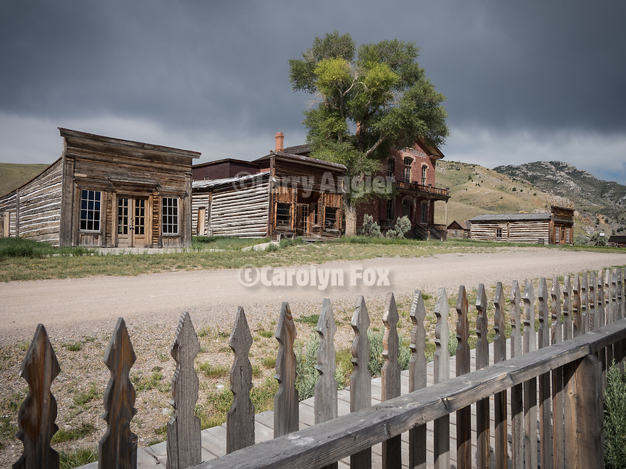 Picket fence, Meade Hotel, Ghost town of Bannock, Montana, first territorial capital of the region