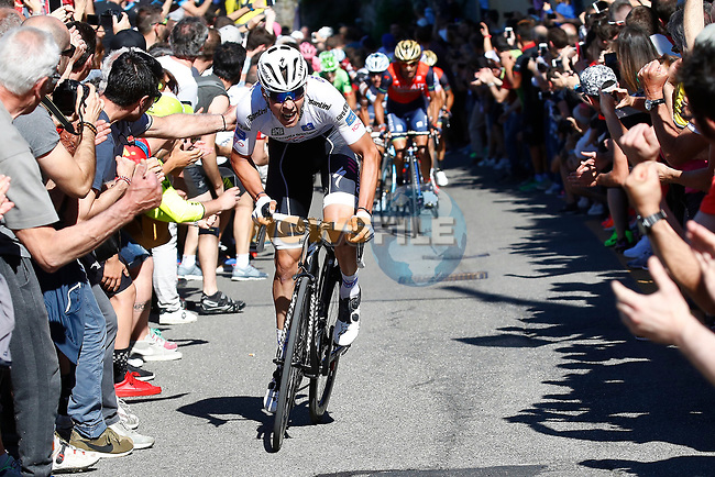 Bob Jungels (LUX) Quick-Step Floors attacks on the final climb into Bergamo Alta near the end of Stage 15 of the 100th edition of the Giro d'Italia 2017, running 199km from Valdengo to Bergamo, Italy. 21st May 2017.<br /> Picture: LaPresse/Fabio Ferrari | Cyclefile<br /> <br /> <br /> All photos usage must carry mandatory copyright credit (&copy; Cyclefile | LaPresse/Fabio Ferrari)