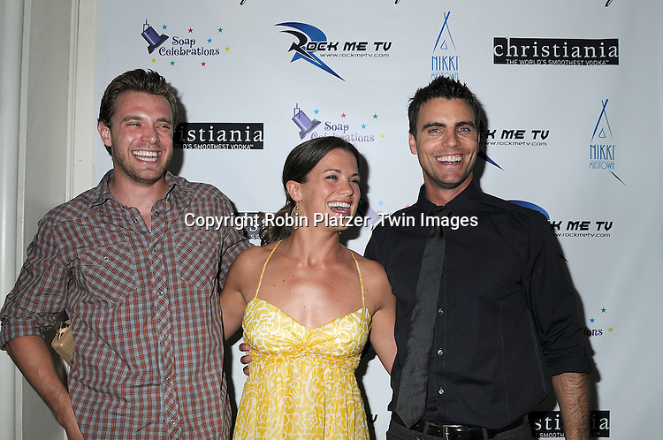 Billy Miller, Melissa Claire Egan and Colin Egglesfield of All My Children.at The 19th Annual Marcia Tovsky Pre-Daytime Emmy Party on June 11, 2008 at Nikki Midtown in New York City. ..Robin Platzer, Twin Images