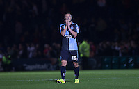 Michael Harriman of Wycombe Wanderers applauds the supporters post match during the Capital One Cup match between Wycombe Wanderers and Fulham at Adams Park, High Wycombe, England on 11 August 2015. Photo by Andy Rowland.