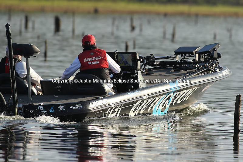 August 22, 2015: Stetson Blaylock making a move of the day on day three of the Forrest Wood Cup on Lake Ouachita in Hot Springs, AR. Justin Manning/ESW/CSM