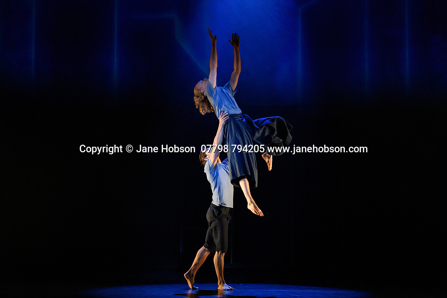 London, UK. 19.02.2020. Sadler's Wells and Universal Music UK present MESSAGE IN A BOTTLE, a new dance theatre production by Sadler's Wells Associate Artist, Kate Prince, set to the music of 17-time Grammy Award-winning artist, Sting. Picture shows: Tommy Franzen (below), Sam Baxter (aloft). Photograph © Jane Hobson.