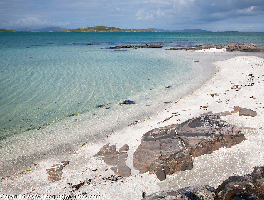 White sand at Traigh Mhor beach, the Cockle Strand, Barra, Outer Hebrides, Scotland, UK